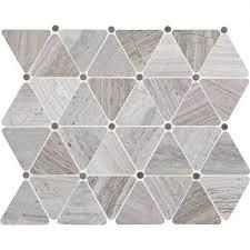 daltile limestone chenille white triangle polished mosaics