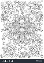 Mandala Flower Coloring Book For Adults Vector Illustration Anti Stress Adult