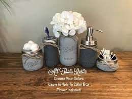 Rustic Bathroom Decor Mason Jar Set