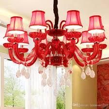 Red Crystal Chandelier Modern Light Led Ceiling For Living Room Dining Bedroom New House Restaurant Decoration Hanging Lights In