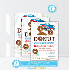 Donut Birthday Party Invitation, Donut Theme Birthday Party, Doughnut Free Printable Birthday Cards With Monster Trucks Awesome Blaze And The Machines Invitations Templates List Truck Party 50 Unique Ideas Cookie Free Pvc Invites Vip Invitation Novel Concept Designs Mud Thank You Card Truck Party Printable