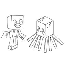 Squid And Stampy Coloring Sheet Minecraft