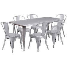 Flash Furniture 31.5'' X 63'' Rectangular Silver Metal Indoor-Outdoor Table  Set With 6 Stack Chairs Home Source Donna Silver Metal Ding Table Grey Na Fniture Nice Chair Room Qarmazi White And Gray Set Of Eight Vintage Rams Head Angloindian Embossed Chairs Ausgezeichnet Industrial Wood Design Hefner Silver 5 Piece Ding Set 100 To Complete Flash 315 X 63 Rectangular Inoutdoor With 4 Stack Polk In Brushed Rustic Pine Seat 3pcs Black Metal Details About 2pcs Distressed 11922 Indian Hub Cosmo Silver Ding Table Chairs Thepizzaringcom