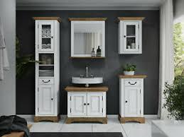 details zu badmöbel set holz weiß braun 5tlg badschrank hochschrank spiegel komplett kenia