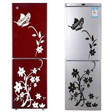 Black Or White Vine Flower Stickers Zooyoo8308 Fridge Non Toxic Wall Decals Vinyl Art