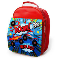 Personalised Lunch Bag MONSTER TRUCK Insulated School Boys Snack Box ...
