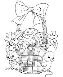 Easter Sunday Rabbit And Chick Standing Beside Basket Coloring Page