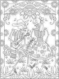 Mexican Day Of The Dead Coloring Page For Grown Ups