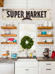 Joanna Gaines Floating Shelves In Her Farmhouse Kitchen