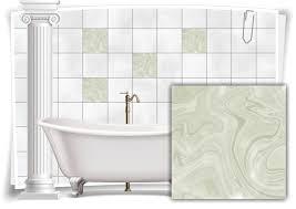 fliesen aufkleber folie marmor öl ölfarben abstrakt creme beige grün bad wc deko küche