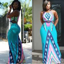 New Style Summer Dress Novelty Women Sky Blue Patchwork Print Sexy Long Cutout Backless Maxi Plus Size Clothing Black Womens Clothes