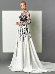 designer long sleeve applique detachable train long evening dress