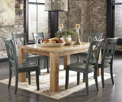 Mestler 7 Piece Table Set With Antique Blue Chairs By Signature Design Ashley Rustic Dining Room