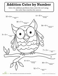 First Grade Math Worksheets Owl Color By Number