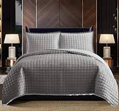 gesteppte tagesdecke aus 100 baumwolle für kingsize bett warm geprägtes muster wendbar für schlafzimmer dekor osca grey