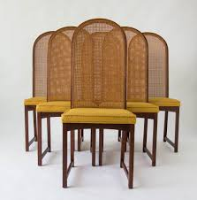 Set Of Six High-Backed Cane Dining Chairs By Milo Baughman ...