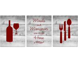 Red Kitchen Wall Art INSTANT DOWNLOAD Fork Spoon Knife Wine Print