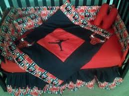 new crib bedding set w michael jordan chicago bulls fabric ebay