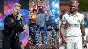 Split Image Of Garry Barlow Take Thats Elephant From Their Circus Tour And James Anderson