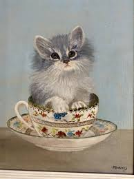 tea cup cat m barnes kitten in a teacup cat painting on canvas