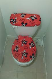 mickey mouse fleece fabric toilet seat cover set bathroom accessories 2pc