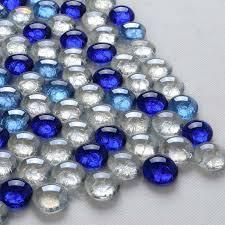 wholesale glass tiles backsplash wall decor blue white mix pebble