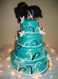 wedding cakes blue with black and white Tamara s Cakes Oshkosh