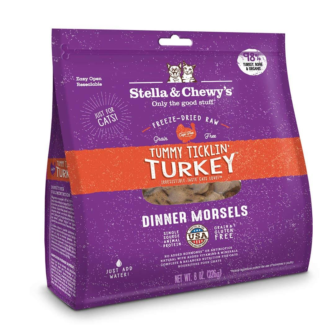 Stella and Chewy's Freeze Dried Cat Food - Tummy Ticklin Turkey Dinner Morsels, 9oz