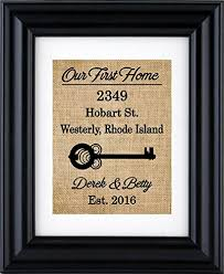 Our First Home Sign Burlap Print Housewarming Gift New