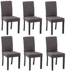 décoshop26 set 6 stühle esszimmer stoff grau dunkelgrau füße