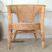 1960s Calif Asia Vintage Wicker Porch Chair California Barrel Rattan With Rolled Arms