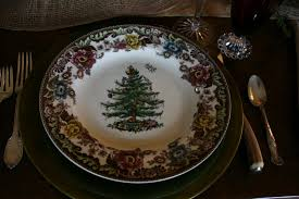 Spode Christmas Tree Glasses by Vignette Design Christmas Tree Grove Tablescape 2010