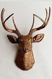 Faux Taxidermy Deer Head Wall Mount The Bennett In Bronze Resin By White