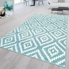 wohnzimmer teppich blau weiß weich rauten muster ethno