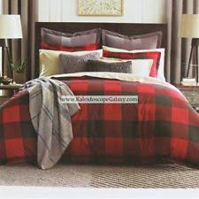 TOMMY HILFIGER RED BLACK PLAID CHECK 3 PC FULL QUEEN COMFORTER RUSTIC LODGE