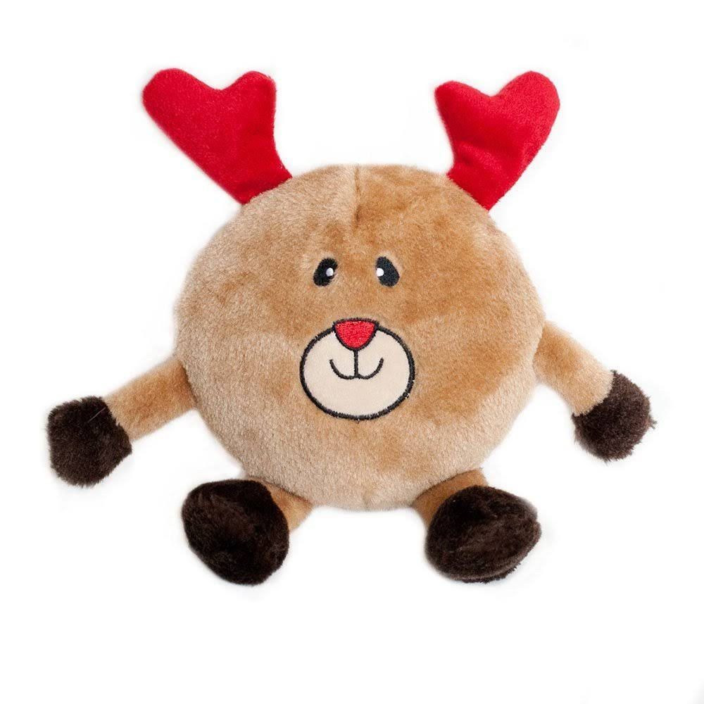 Zippypaws Holiday Brainey Reindeer Squeaky Plush Dog Toy