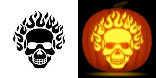 Walking Dead Pumpkin Stencils Free Printable by Flaming Skull Pumpkin Carving Stencil Free Pdf Pattern To