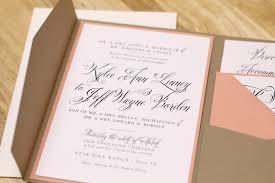 Kxo Design Rustic Peach Wedding Invitation With Kraft Pocketfold