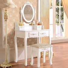Ebay Home Decorative Items by Uenjoy White Dressing Table High Quality Mirror Table Stool Set