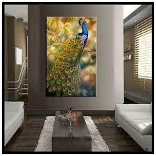 Peacock Home Decor Vertical Classic Realistic Canvas Wall Art Regarding
