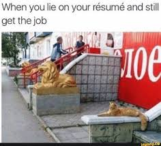 When You Lie On Your Résumé And Still Get The Job - IFunny :) Should You Fess Up To Your Boss Or Hr If Lied On The Top 5 Reasons You Cant Lie On Your Resume Talentegg Catching Lies In The Hiring Process What Happens When Palmer Group Dont Lie Cv Untrue Credentials Can Land A Can Get Away With Lying Ulearning Inglish Resume 3 Ways Proceed When Lied Wikihow Steve Blank