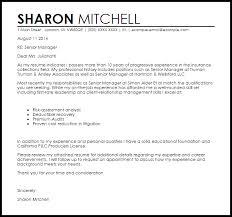 Senior Manager Cover Letter Sample
