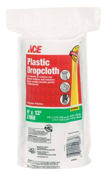 Ace Heavy Weight Plastic Drop Cloth - 9ft x 12ft