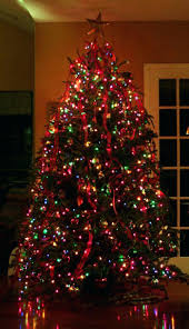 Christmas Tree Multicolor Lights Colored Happy Holidays With Regard To Design Flocked
