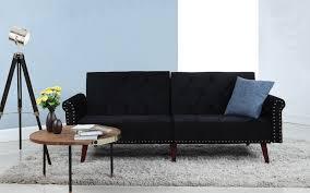 Tufted Velvet Sofa Bed by Becca Modern Tufted Velvet Futon Sofamania Com