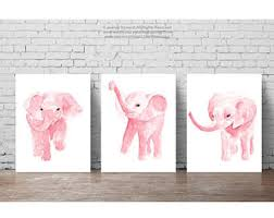 Canvas Blush Pink Elephant Watercolor Set 3 Art Prints Nursery Baby Girl Girls Room Decor