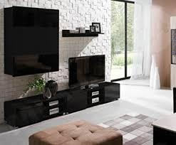 wohnwand gordia iii anbauwand schrankwand farbauswahl zwei tv lowboard hängeschrank hängeregal wohnzimmerschrank schwarz schwarz matt