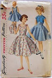 Simplicity 1184 Vintage 50s Sewing Pattern Girls One Piece Rockabilly Empire Flared Dress With Bolero Short