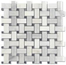 carrara pietra 1x2 basketweave honed mosaic bardiglio dot mosaic