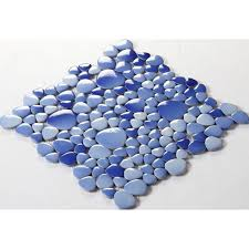 ceramic mosaic tile backsplash cheap pebbles blue sky glazed tiles